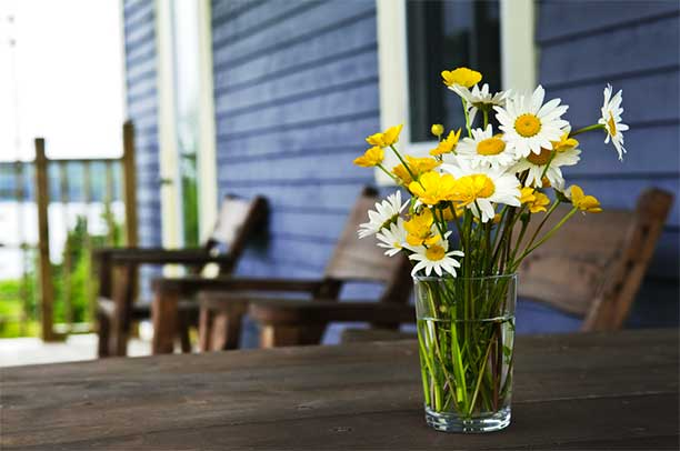 Flowers on porch - Living Simply at Home
